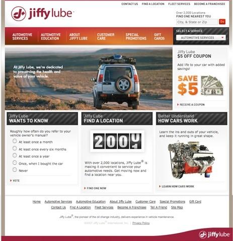 Jiffy Lube website