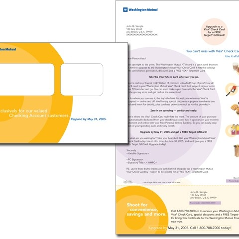 Washington Mutual/Target direct mail package