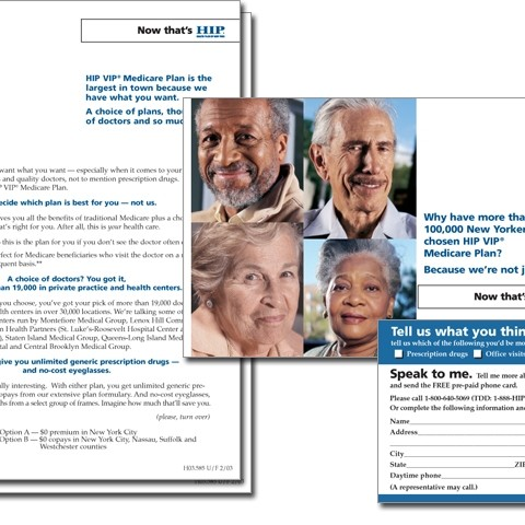 HIP health insurance direct mail package