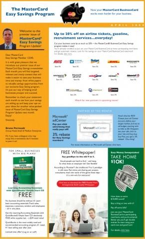 MasterCard e-newsletter