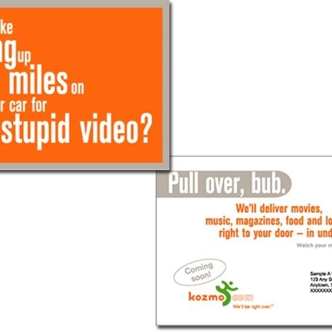 Kozmo home delivery service postcards