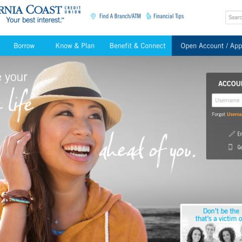 California Coast Credit Union website