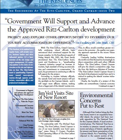 Ritz-Carlton newsletter